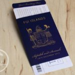 Navy Blue Fijian Passport Wedding Invitation