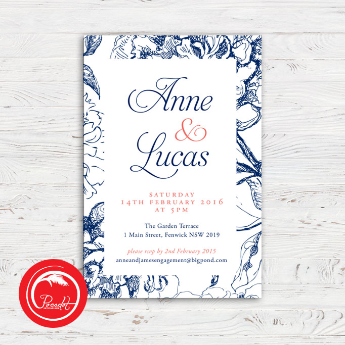 Navy Blue Coral And Floral Engagement Invite Pocadot Invitations