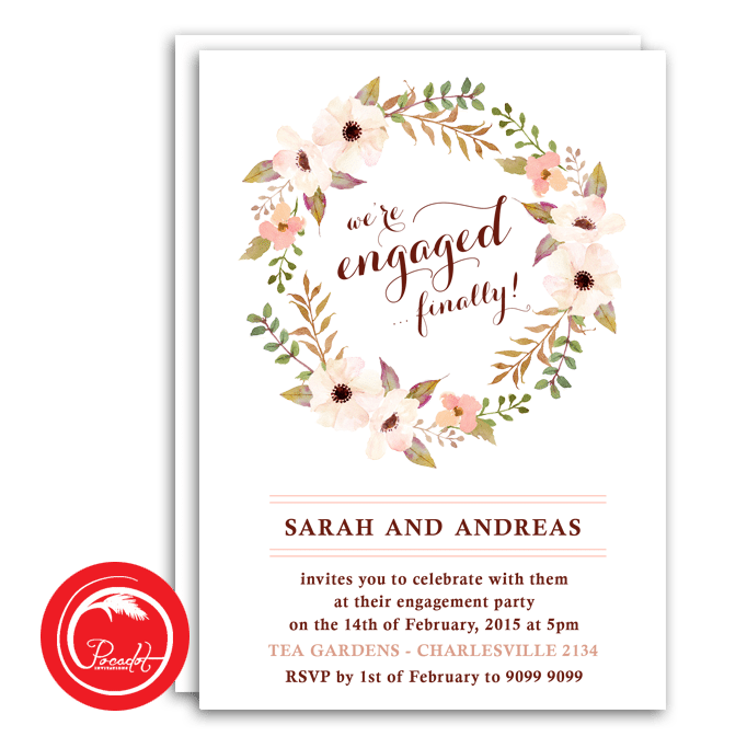 Floral Wreath Engagement Invite Pocadot Invitations