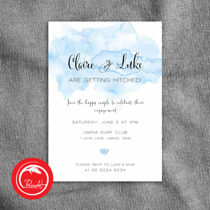 Blue Watercolour Engagement Invite Pocadot Invitations