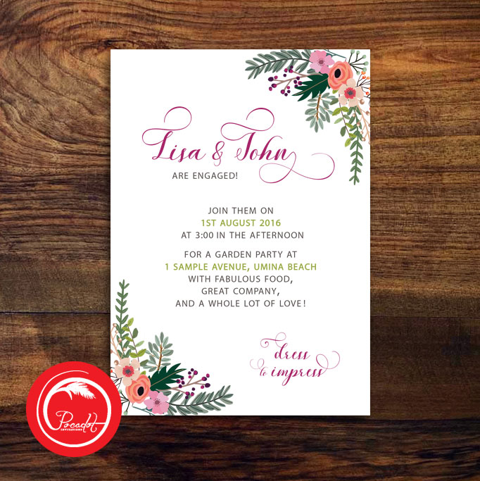 Floralboho std etsy pocadot invitations for Etsy engagement party invites