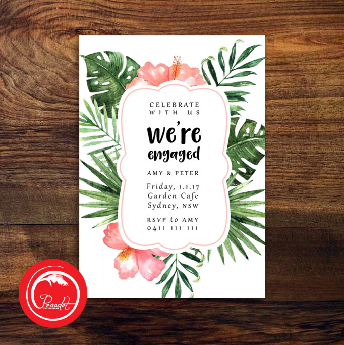Tropical Were Engaged Engagement Invite Pocadot Invitations