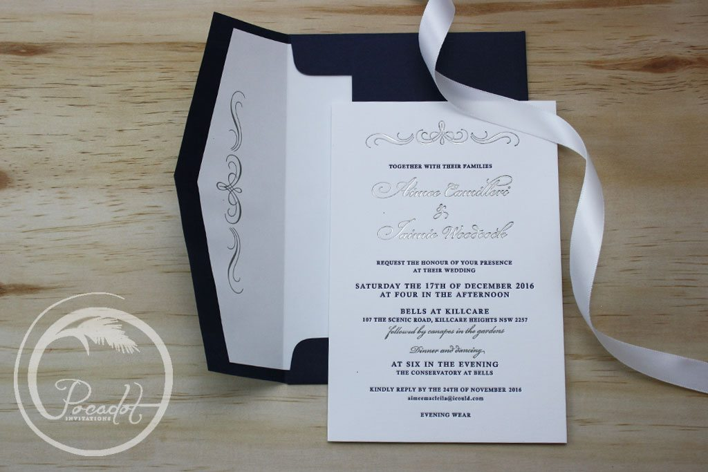 Navy Blue And Silver Wedding Invitations: Silver Foil & Navy Blue Letterpress Wedding Invitation