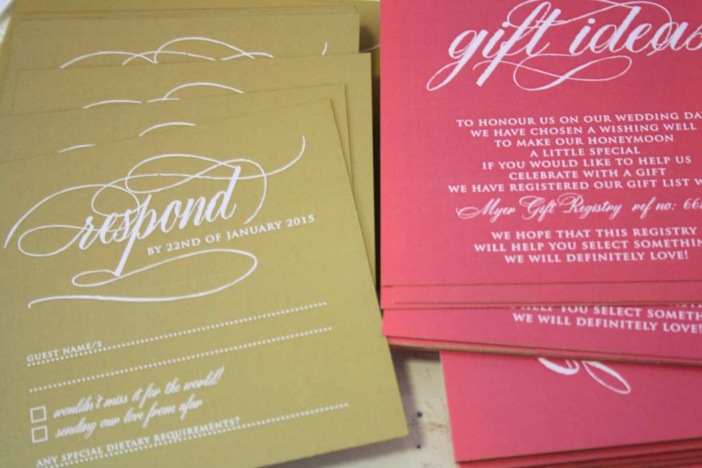 RSVP Cards and Gift Idea Card for Carissa's Wedding Invites