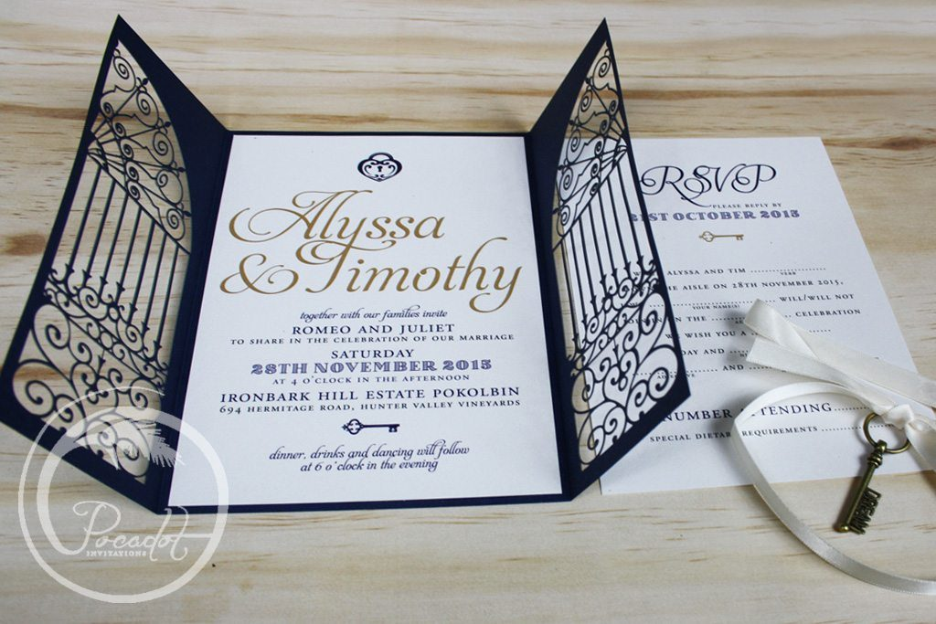 Navy blue lasercut gold key wedding invitation pocadot invitations 1 shares stopboris Choice Image