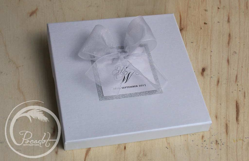 Silver and White Boxed Wedding Invites