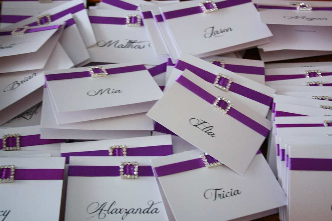 Purple Wedding Place Cards by Pocadot Invitations