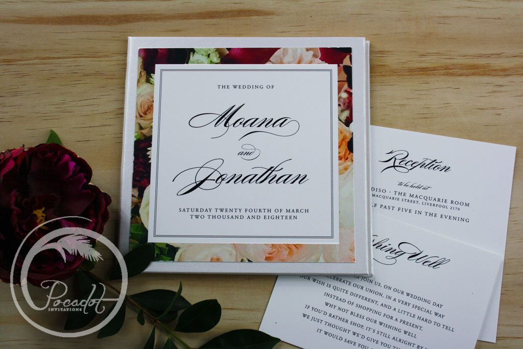 Floral Hardcover Wedding Invitation ~ Pocadot Invitations
