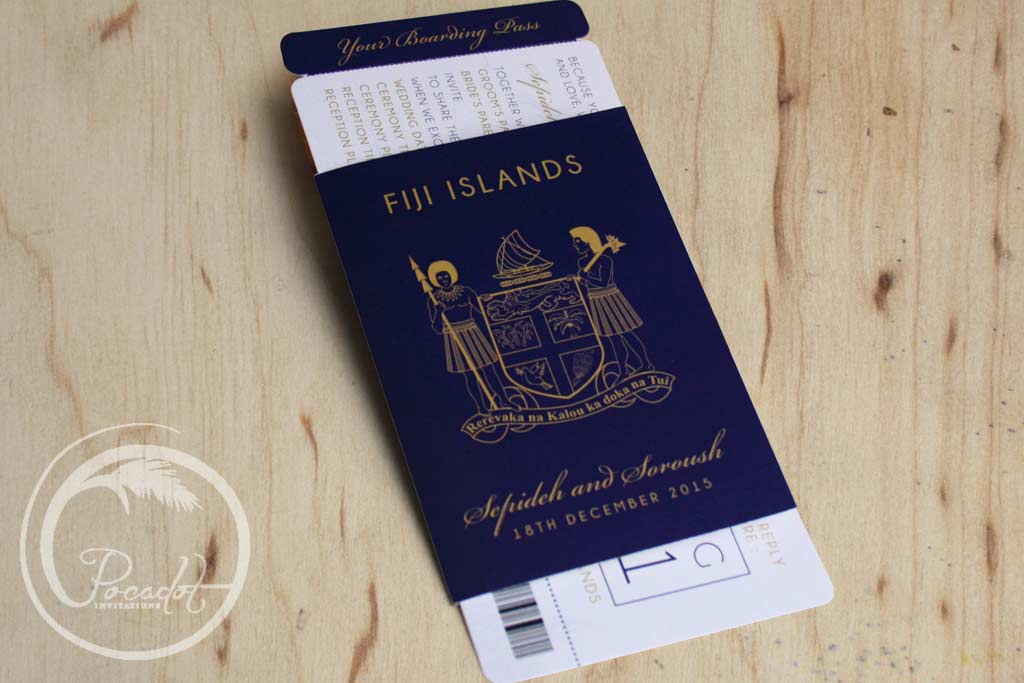 Navy Blue Fijian Passport Wedding Invitation ~ Pocadot Invitations