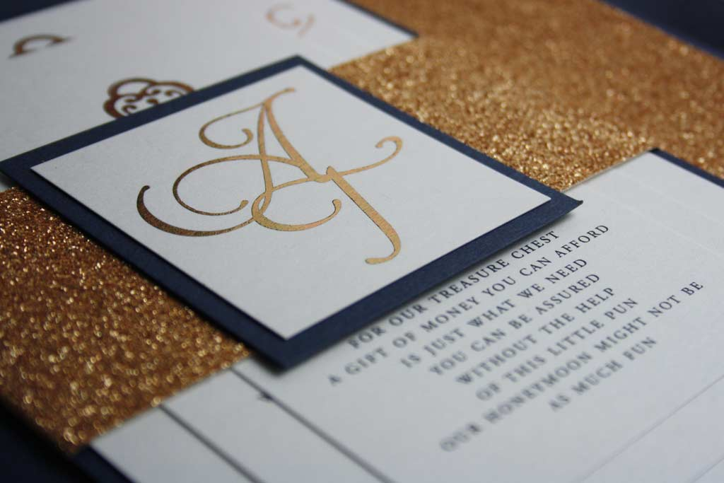 Navy Blue Gold FoilGlitter Wedding Invite Pocadot Invitations