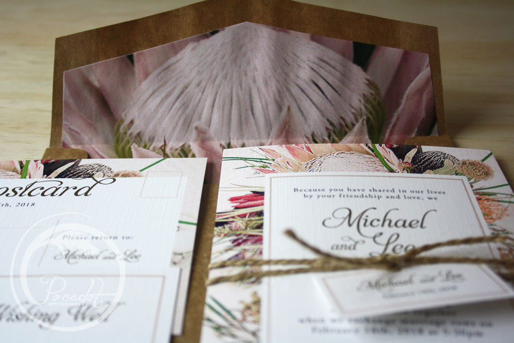 Australian Native Floral Wedding Invitation ~ Pocadot Invitations